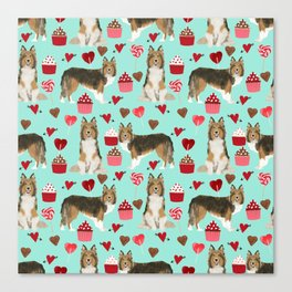 Sheltie shetland sheepdog valentines day love hearts cupcakes dog gifts puppies pet friendly art Canvas Print