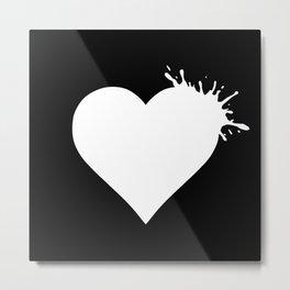 Heart Splash - White Metal Print