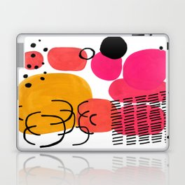 Modern Mid Century Fun Colorful Abstract Minimalist Painting Yellow Pink Bubble Candy Drops Laptop & iPad Skin