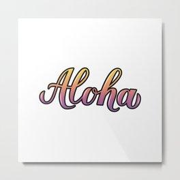 Aloha 3d calligraphy lettering Metal Print