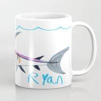 submarine Mugs featuring Shark Submarine by Ryan van Gogh