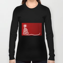 Red Scrible Christmas Tree Long Sleeve T-shirt