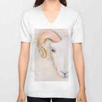 sheep V-neck T-shirts featuring sheep by Bárbara  Kramer