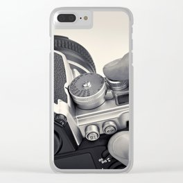 Retro SLR camera in hands photographer Clear iPhone Case