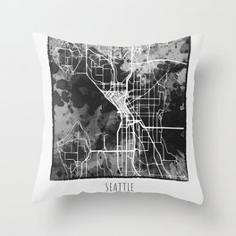 Seattle City Map Throw Pillow