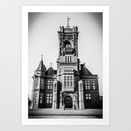 Cardiff Bay Pierhead Black and White Art Print