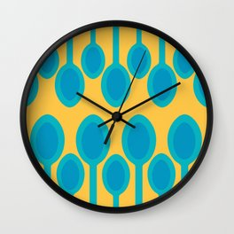 Blue spoons field Wall Clock
