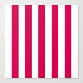 UA red fuchsia - solid color - white vertical lines pattern Canvas Print