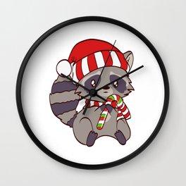 Spiritual Xmas Animal T-shirt Design Cute Christmas Cutie Raccoon Holding A Sweet Candy Cane Wall Clock