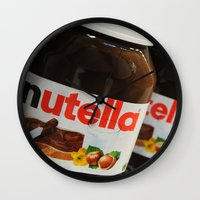 nutella Wall Clocks featuring Nutella by Max Jones