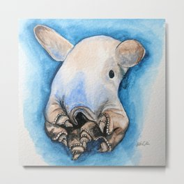 Dumbo Octopus Watercolour in blue and brown Metal Print