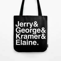 seinfeld Tote Bags featuring Seinfeld Jetset by Bill Pyle