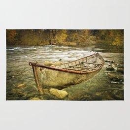 Canoe on the Thornapple River in Autumn Rug