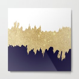 Modern navy blue white faux gold glitter brushstrokes Metal Print