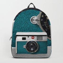 Blue Teal retro vintage camera with germany lens Backpack
