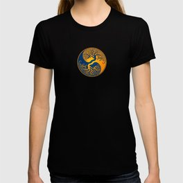 Blue and Yellow Tree of Life Yin Yang T-shirt