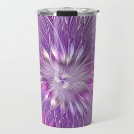 Pink Flower Passion, Abstract Fractal Art Travel Mug