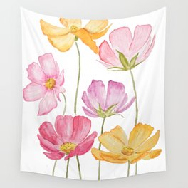 colorful cosmos flower Wall Tapestry