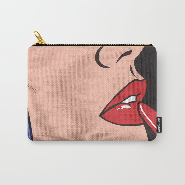 Red Lipstick Comic Girl Carry-All Pouch
