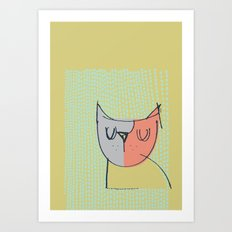Cubist Cat Study #3 by Friztin Art Print