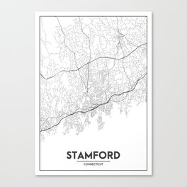 Minimal City Maps - Map Of Stamford, Connecticut, United States Canvas Print