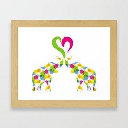 Two elephants in love Framed Art Print