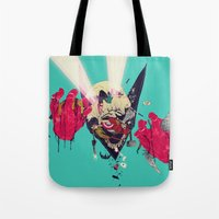 hero Tote Bags featuring Hero Eater by boneface
