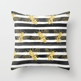 Golden bee noir Throw Pillow