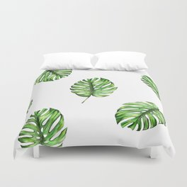 Monstera green leaves Duvet Cover
