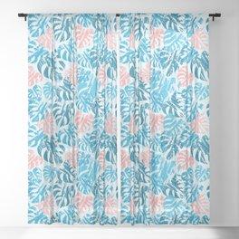 Monstera Leaves Blue Sheer Curtain