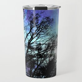 black trees periwinkle blue aqua space Travel Mug
