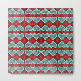 Abstract Turquoise and Bright Red Diamond Hearts Metal Print