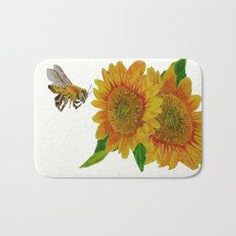 Summer Bee Yellow Sunflower Painting Bath Mat