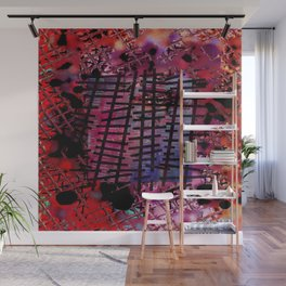 Rails on Red Wall Mural