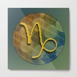 Flower of Life CAPRICORN Astrology Design Metal Print
