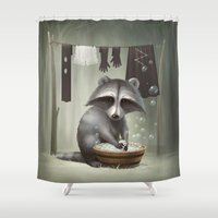 raccoon Shower Curtains featuring Raccoon by Antracit