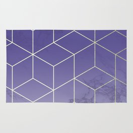 Geometric Marble Ultraviolet Purple Gold Rug