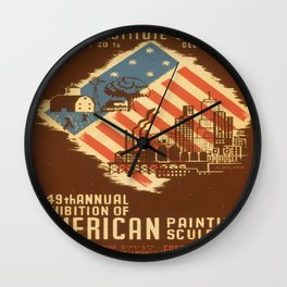Vintage poster - American Paintings & Sculpture Wall Clock