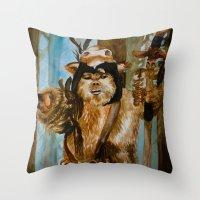 ewok Throw Pillows featuring Ewok Shaman by Tuesday Glennan