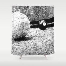 Billiards Art 4 Black and white Shower Curtain
