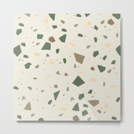 Sage Cactus Green Tan Brown Terrazzo #1 #decor #art #society6 Metal Print