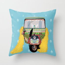 Indian rickshaw illustration Throw Pillow