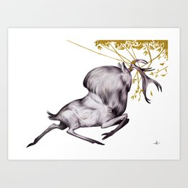 The Stag & His Reflection Art Print