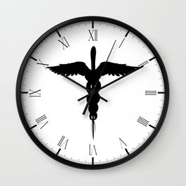 Caduceus Medical Symbol Isolated Wall Clock
