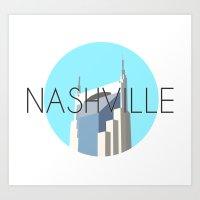 nashville Art Prints featuring NASHVILLE by Lauren Jane Peterson