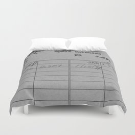 Library Card 797 Gray Duvet Cover