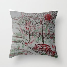 Fox and the Red Sun Throw Pillow