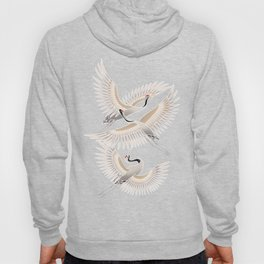 traditional Japanese cranes bright illustration Hoody