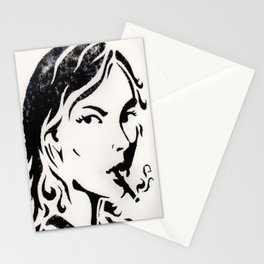 WOMAN SMOKING A CIGARETTE Stationery Cards