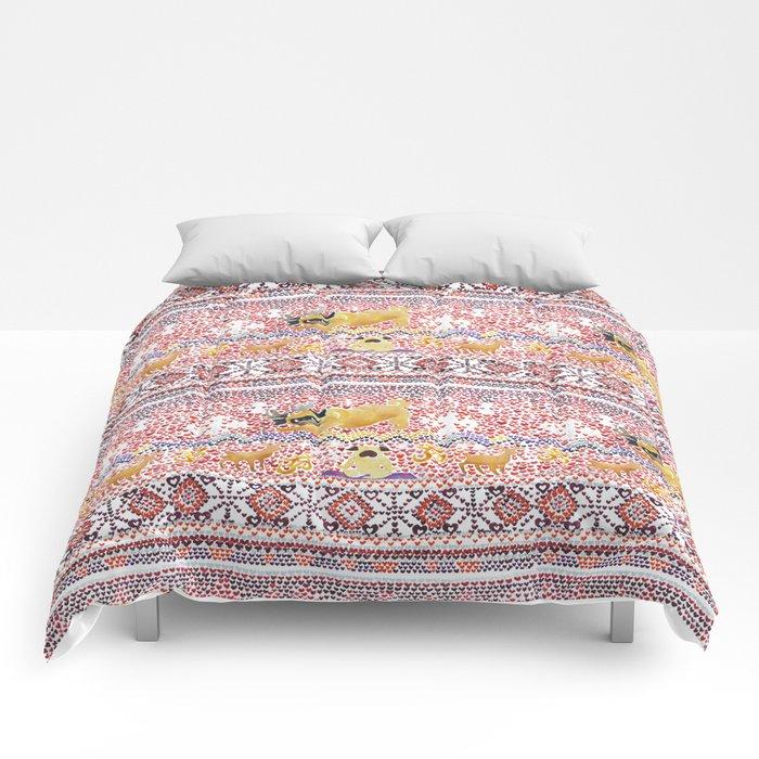 Xmas Pugs Yoga Watercolor Comforters